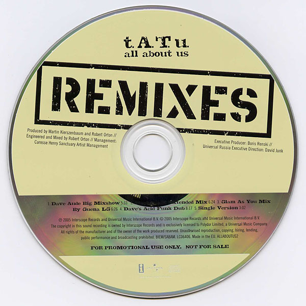 ТАТУ - All About Us - The Remixes Promo